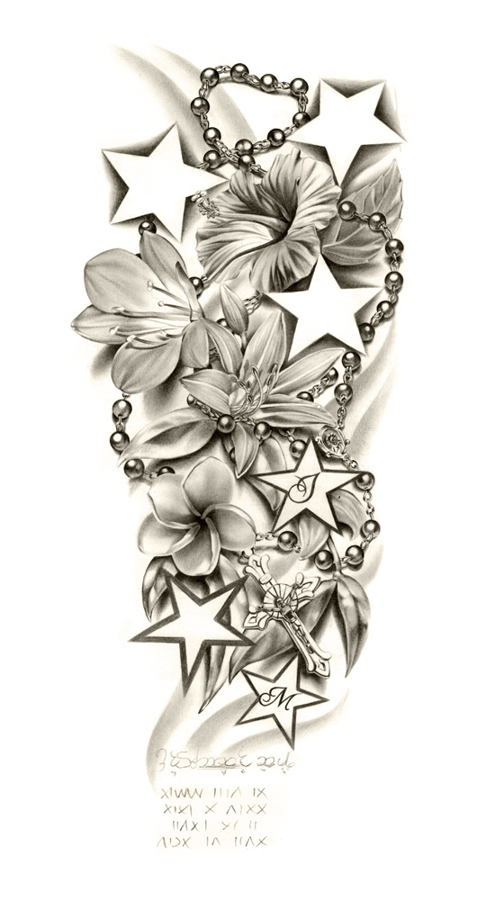 Flowers composition sleeve tattoo by ca5per on deviantart for Flower sleeve tattoo ideas