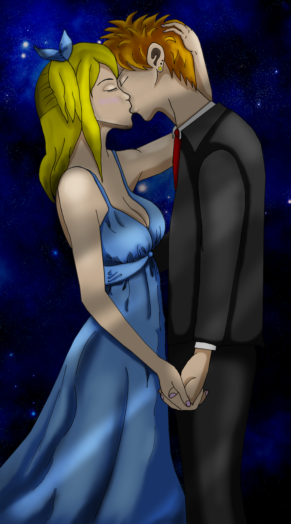 Lucy and Loke - A Kiss By Starlight by RhovFairy Tail Lucy And Loke Kiss