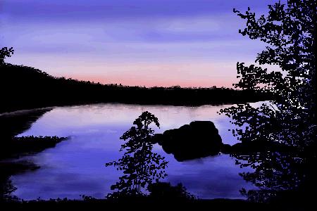 Crescent Lake at Sunrise by davincipoppalag