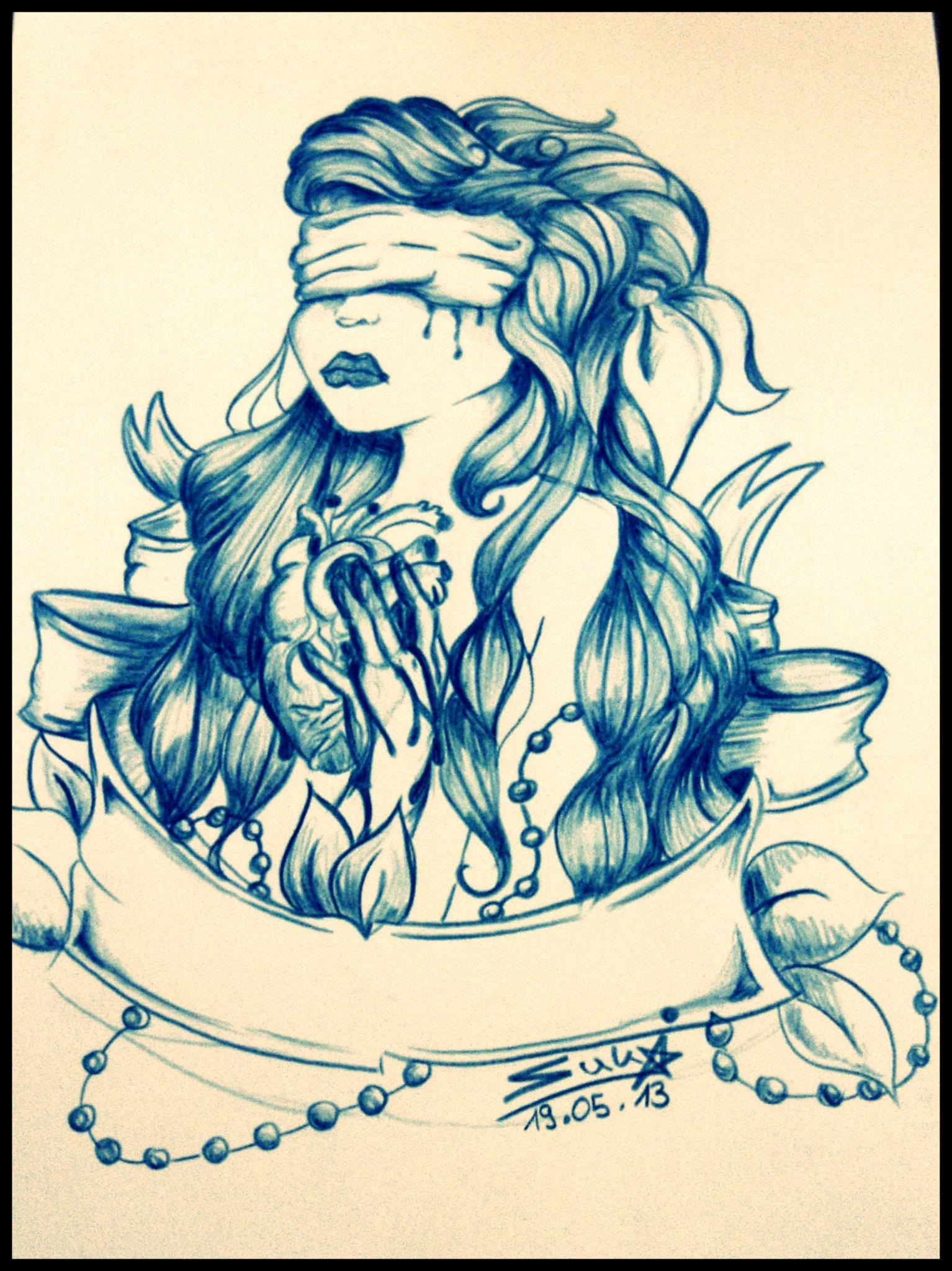 Brokenhearted Girl Tattoo Design by Sukis-Brain-Artwork on