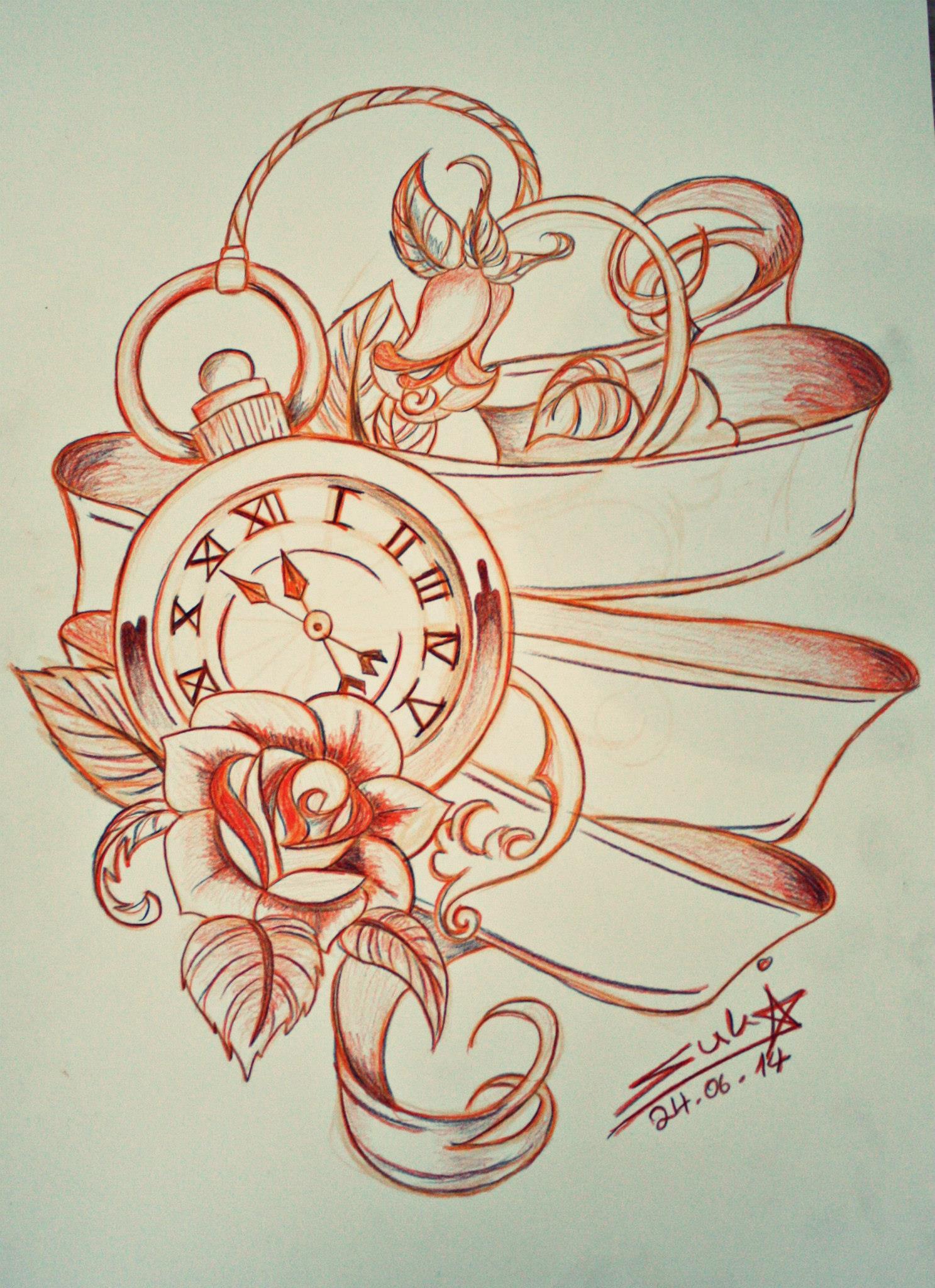 Pocket Watch Tattoo Design By Sukis Brain Artwork On Deviantart