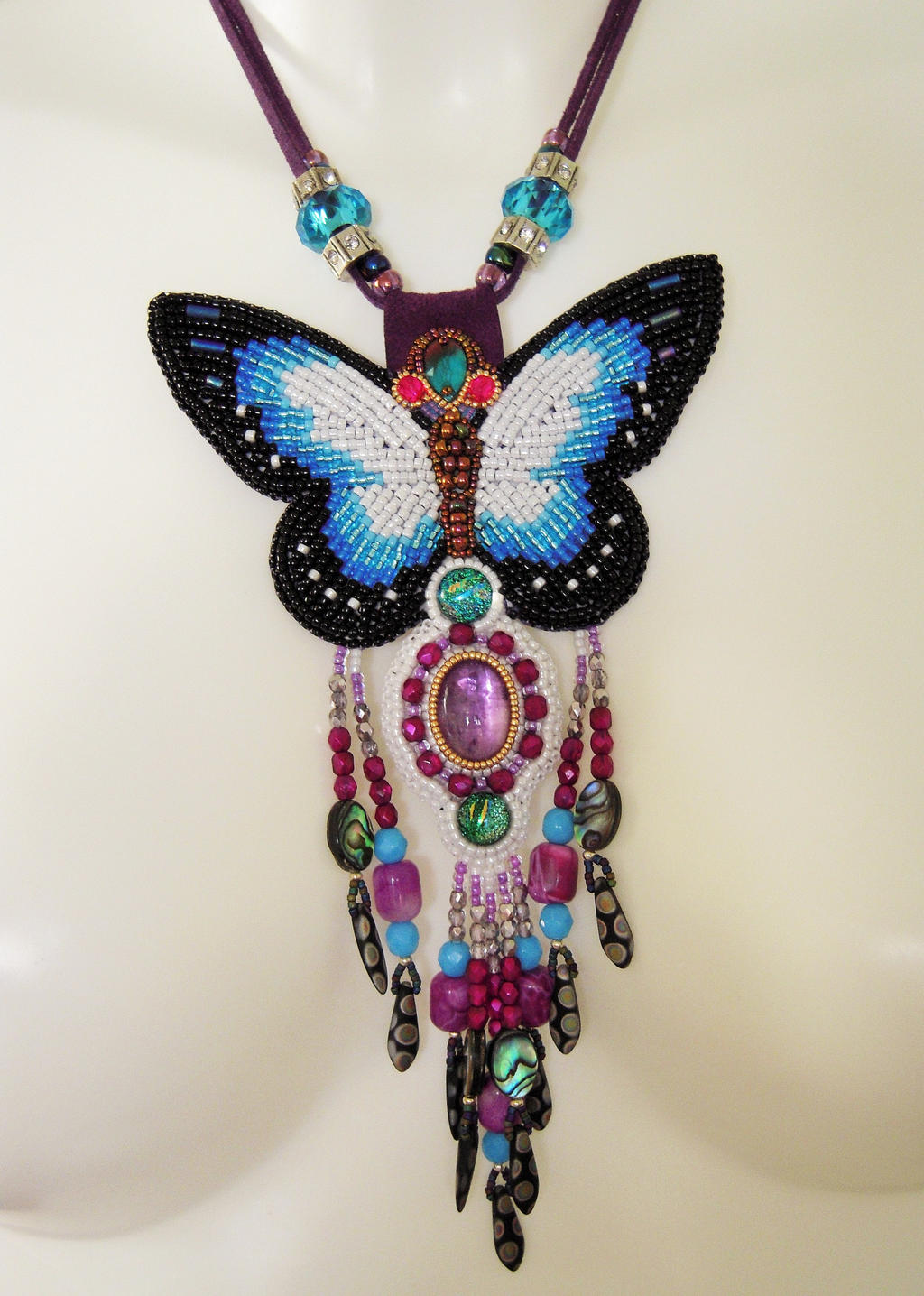 Bead embroidery necklace by priscillascreations on