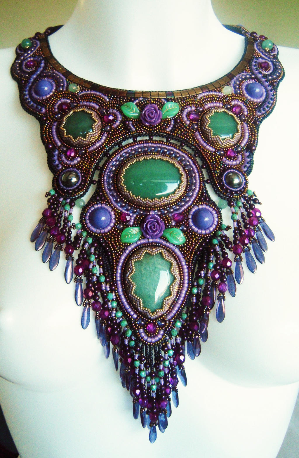 Bead embroidery necklace 22 by Priscillascreations