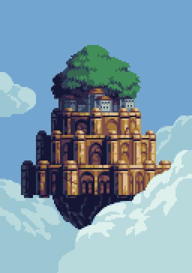 Pixel Castle in the Sky by Goodlyay