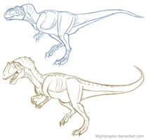 Theropod sketches 1 by MightyRaptor