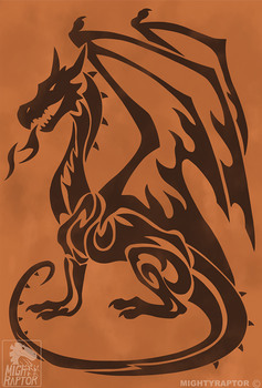 Fire And Spell Western Dragon Flag Symbol
