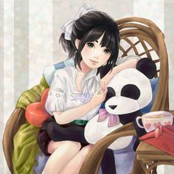 Panda Cuddles by PeachCrayon