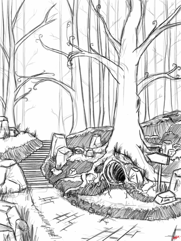Line Art Forest : Magical forest sketch by minimelo on deviantart