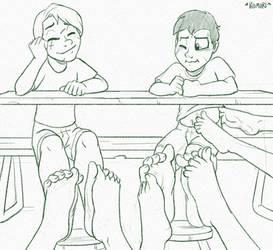 Table footsies by CommissionKomori