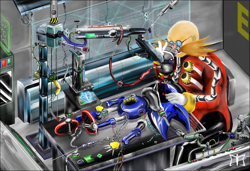 Eggman planchant sur Metal Sonic
