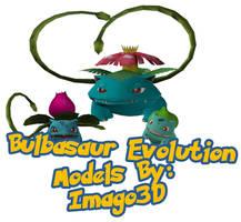 Family Photo Bulbasaur Ivysaur and Venusaur by imago3d
