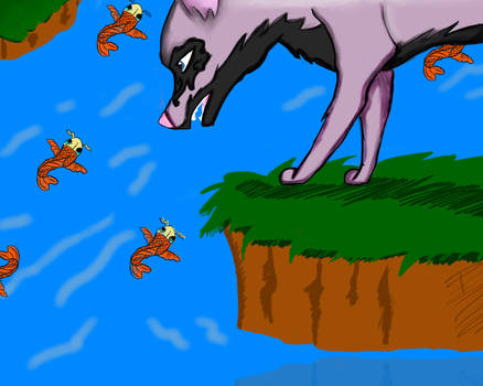 wolf fishing Color