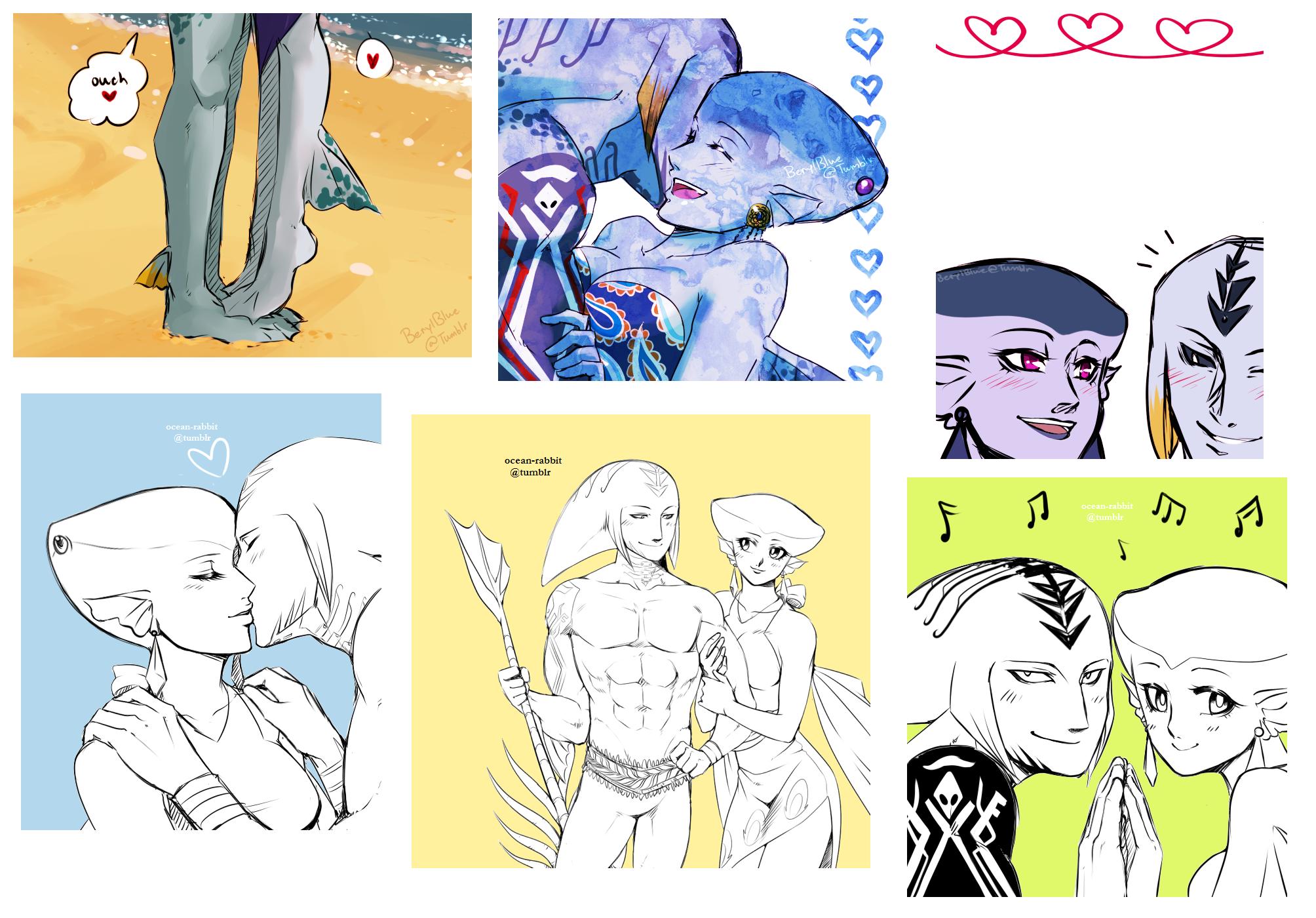 Mikau + Lulu art dump by SeaboardBlue