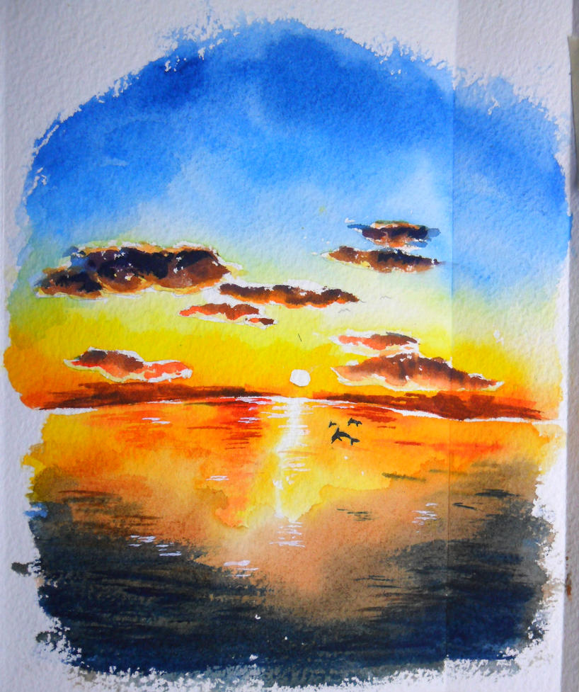 Sunset Watercolor By Icecream80810
