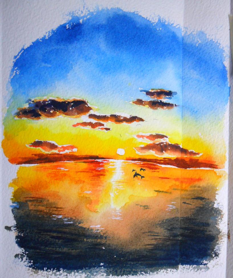 sunset , watercolor by icecream80810 on DeviantArt