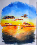 sunset , watercolor