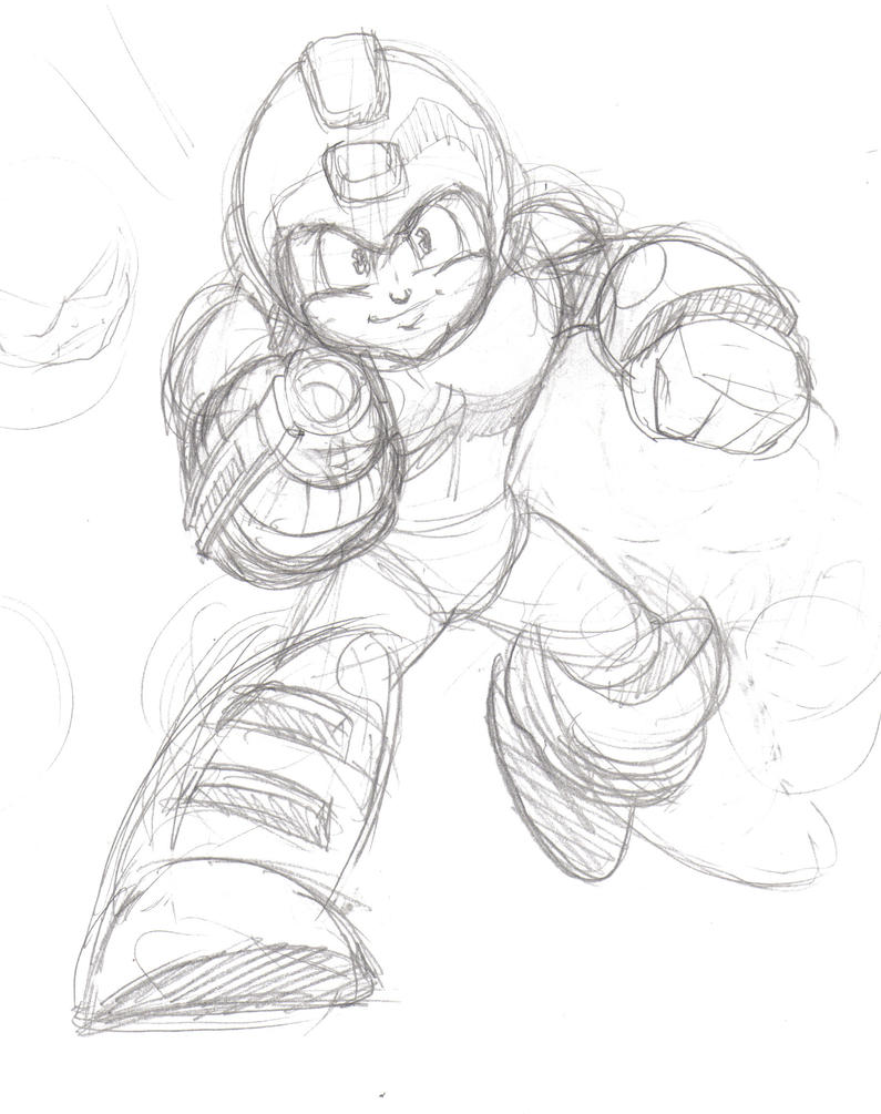 Americanized Mega Man Sketch by rockmanzallz