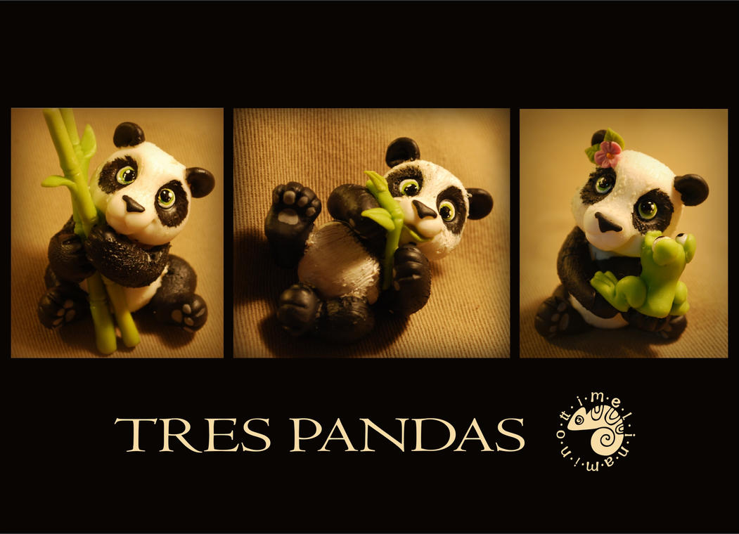 Tres pandas by melinaminotti