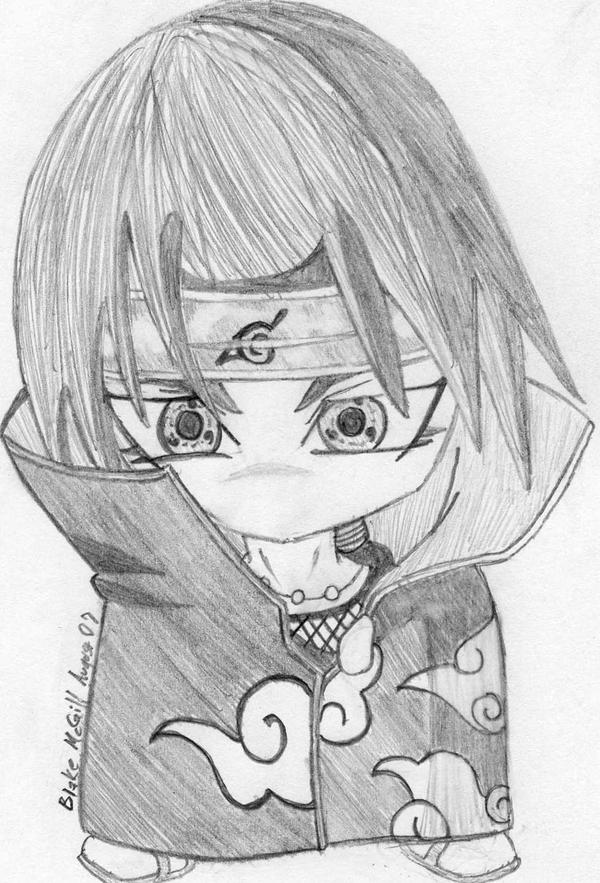 Itachi chibi in pencil by 0 bluerequiem 0