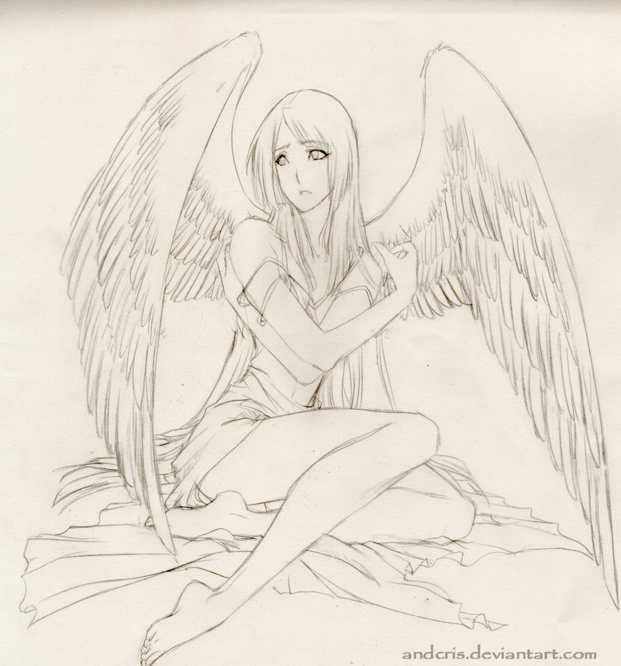 angel pencil drawing by andiecris on deviantart