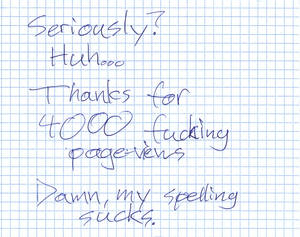 Handwritten Thanks for 4000