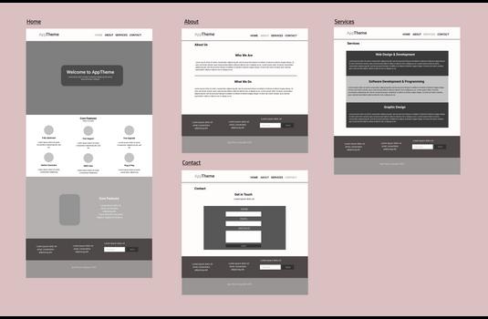 App-Theme wireframe