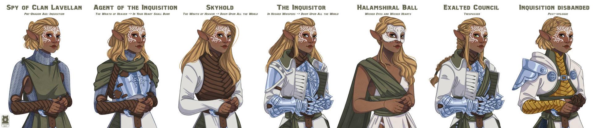 [DAI] Inquisitor Arla Lavellan's Wardrobe timeline