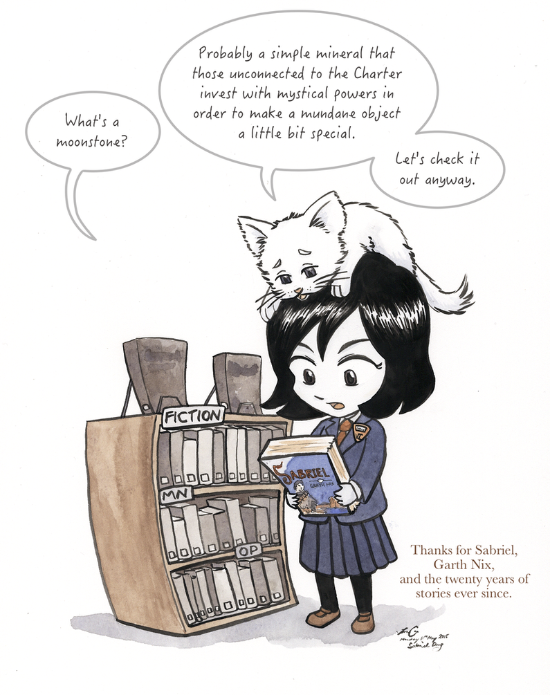 Wherein Sabriel asks Mogget about Moonstones by FairyKitsch