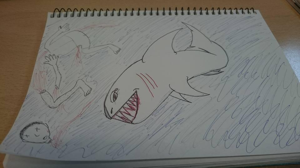 Shark having dinner - Inktober 2016 day 17 by ashthedragon