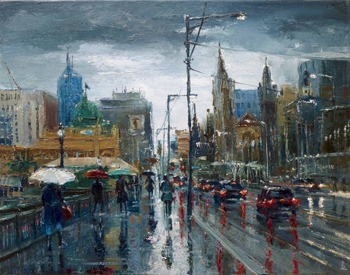 Walking to Flinders St Station