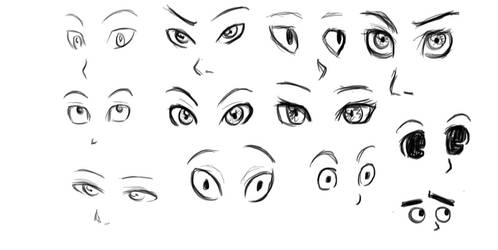 Eyes sketch dump by DragonfireXAgent