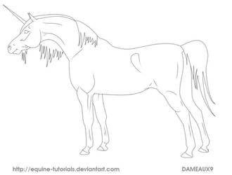 FREE USE Arab Unicorn Lineart by equine-tutorials