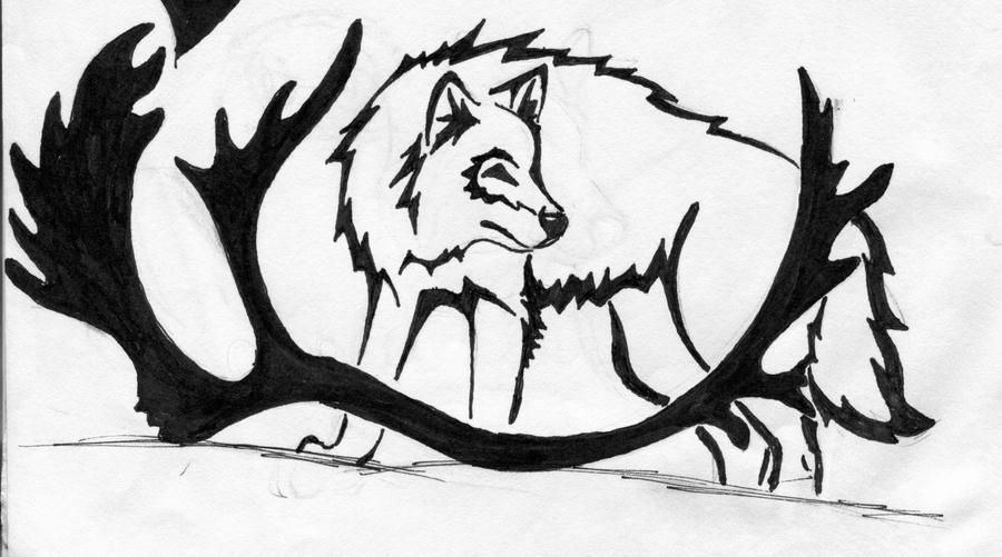 Tribal Wolf and Antler Tattoo by silverheartx