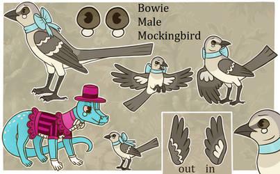 Bowie the mockingbird ref sheet by lizzardblackrose