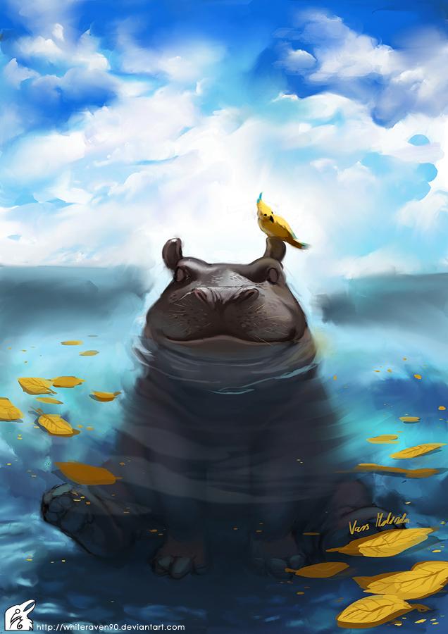happy hippo by whiteraven90 on deviantart