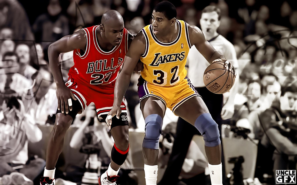 5e21eabfe46 Michael Jordan vs Magic Johnson by GfxUncle on DeviantArt