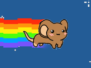 Nyan Maus with rainbow and bg by abstratmice