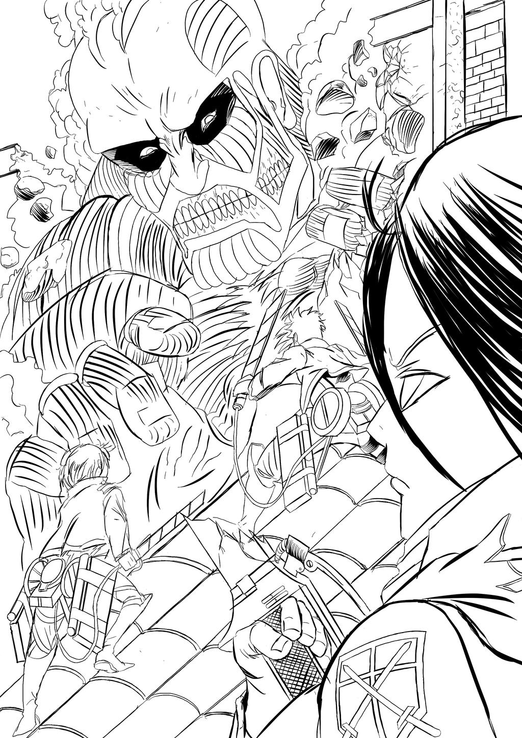Attack on titan drawings for Attack on titan coloring pages