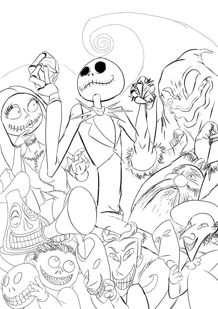 Nightmare before xmas line art by semajz on deviantart for Nightmare before christmas coloring pages