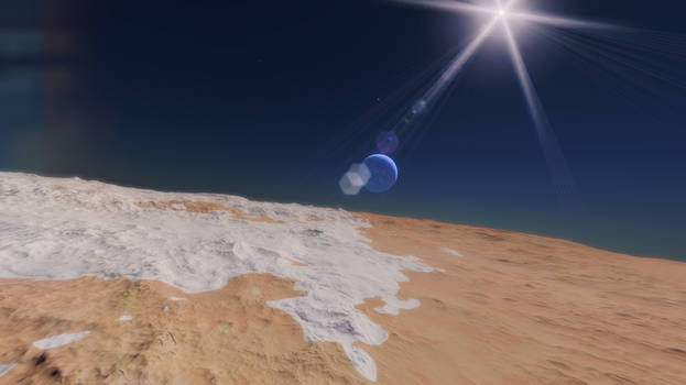 Orbiting around a planet.