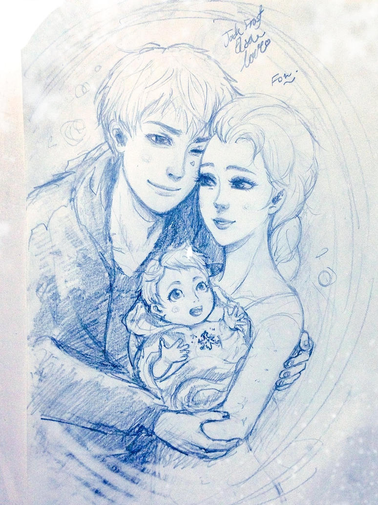 Jack frost Elsa and their little love by Snowcupid