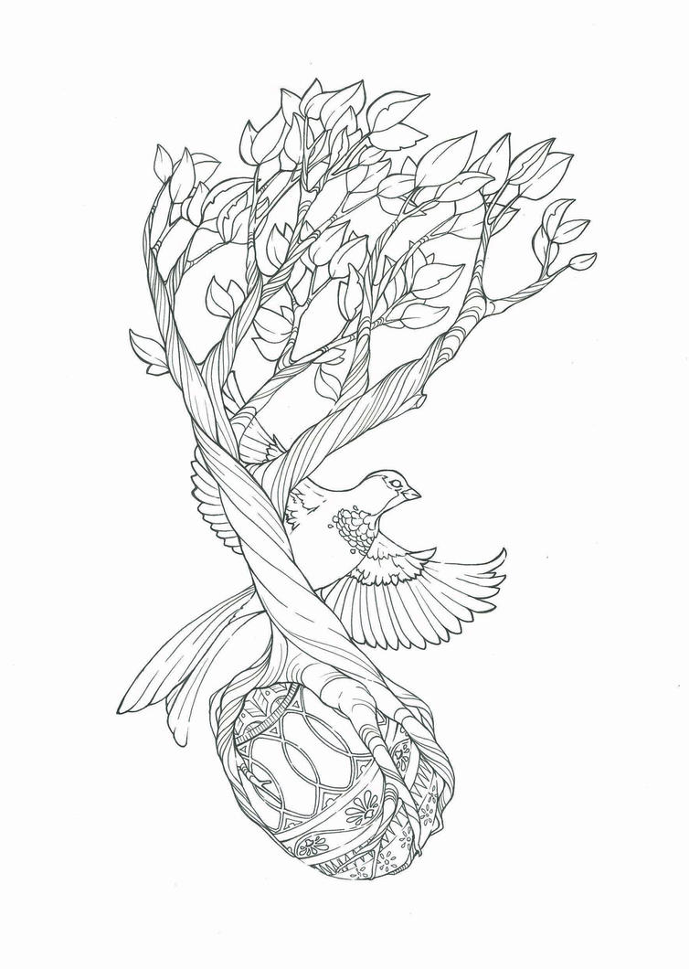 bird and tree tattoo design by tegan ray on deviantart. Black Bedroom Furniture Sets. Home Design Ideas