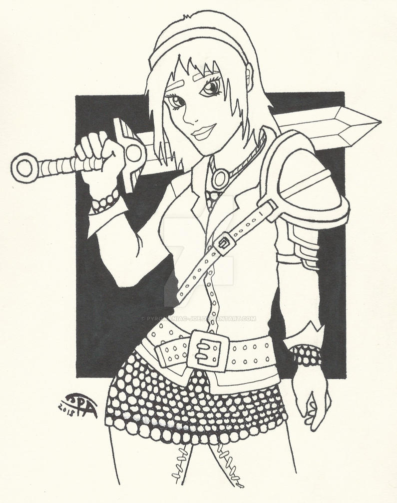 Sword girl drawing by pyromaniac joe