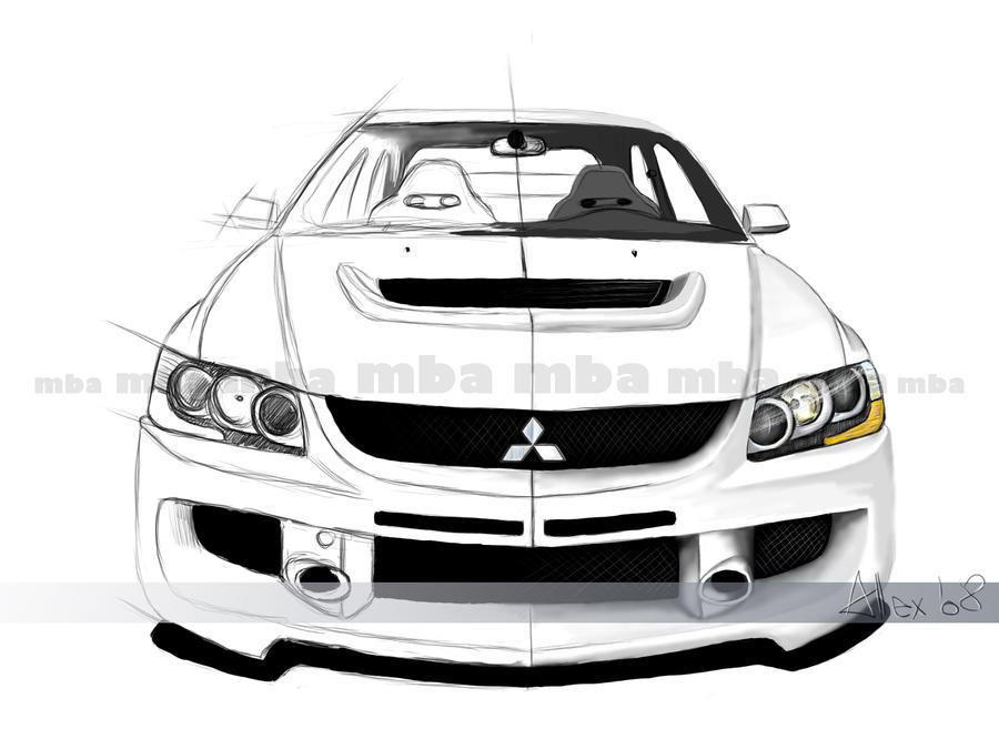 The-Blueprints.com - Vector Drawing - Mitsubishi Lancer Evolution X