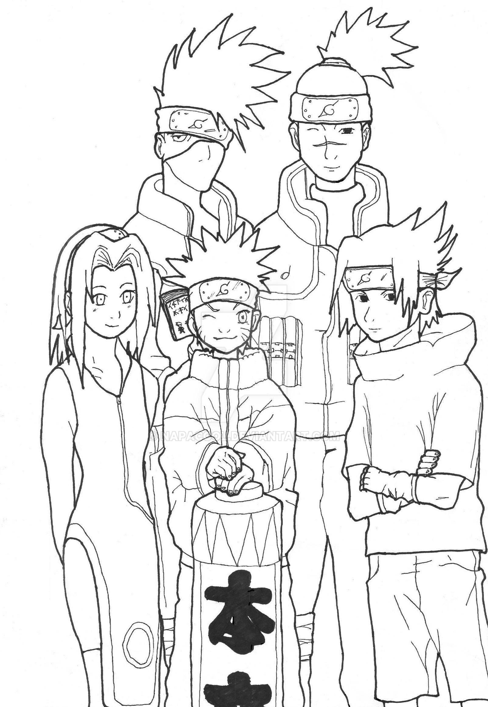 Sakura kakashi naruto iruka y sasuke by napacool on for Naruto sakura coloring pages