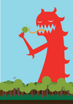 Red Monster and Lollipop Trees