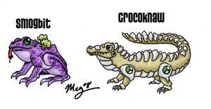 Fakemon: Smogbit and Crocoknaw