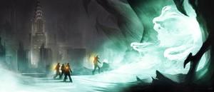 Ghostbusters - Gozer's Entrance by charlestanart