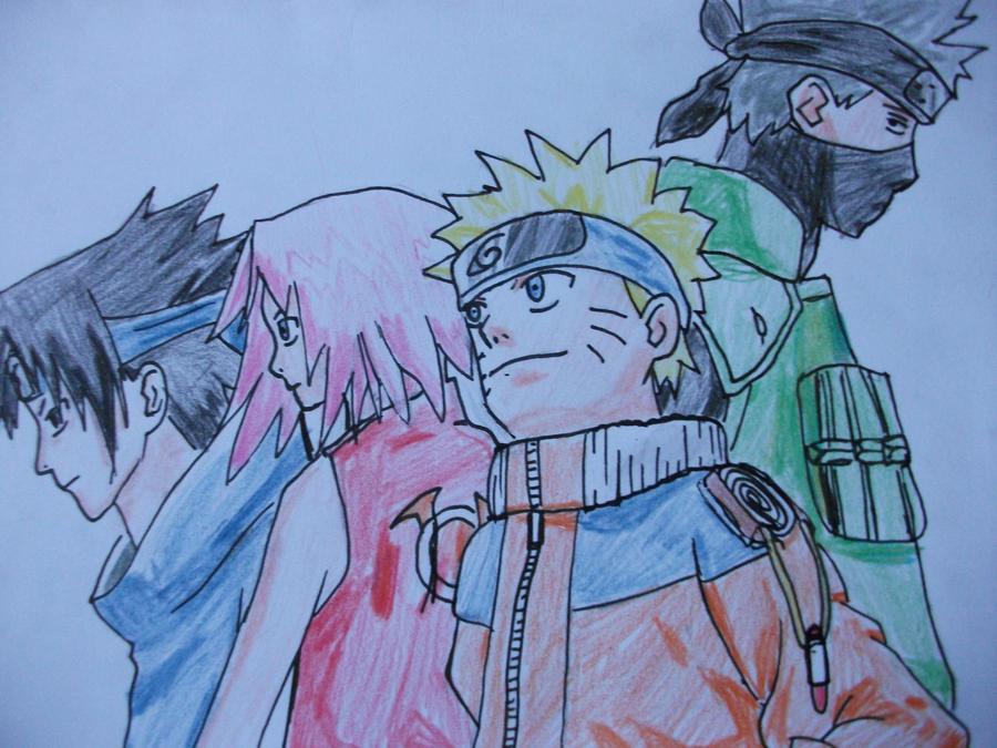 Kakashi Lineart : Naruto sakura sasuke and kakashi by catnekochan on deviantart