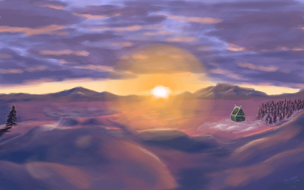New Year sunset at Skyrim. All best wishes! by skv1991